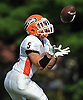 Carey No. 5 Jake Safuto fields a kickoff during the third quarter of a Nassau County Conference II varsity football game against host Garden City High School on Saturday, September 19, 2015. Garden City won by a score of 38-7.<br /> <br /> James Escher