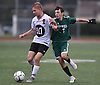 Rich Imbro #10 of Island Trees, left, and Damon Daskalakis #15 of Seaford battle for possession during a Nassau County Conference A-6 varsity boys soccer game at Seaford High School on Monday, Oct. 8, 2018. The game ended in a 1-1 tie.