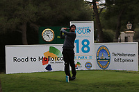 Robin Sciot-Siegrist (FRA) on the 18th tee during Round 4 of the Challenge Tour Grand Final 2019 at Club de Golf Alcanada, Port d'Alcúdia, Mallorca, Spain on Sunday 10th November 2019.<br /> Picture:  Thos Caffrey / Golffile<br /> <br /> All photo usage must carry mandatory copyright credit (© Golffile | Thos Caffrey)