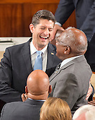 United States Representative James E. Clyburn (Democrat of South Carolina), the Assistant House Democratic Leader, right, enjoys a laugh with incoming Speaker of the US House of Representatives Paul Ryan (Republican of Wisconsin), center, as the latter is escorted to the rostrum in the US House Chamber in the US Capitol in Washington, DC on Thursday, October 29, 2015. At bottom left is US Representative John Lewis (Democrat of Georgia).<br /> Credit: Ron Sachs / CNP