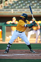 AZL Athletics Gold Elvis Peralta (3) at bat during an Arizona League game against the AZL Rangers on July 15, 2019 at Hohokam Stadium in Mesa, Arizona. The AZL Athletics Gold defeated the AZL Athletics Gold 9-8 in 11 innings. (Zachary Lucy/Four Seam Images)