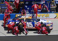 Apr 29, 2007; Talladega, AL, USA; Nascar Nextel Cup Series driver Kyle Petty (45) pits during the Aarons 499 at Talladega Superspeedway. Mandatory Credit: Mark J. Rebilas