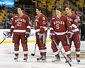 Marshall Everson (Harvard - 21), Alex Killorn (Harvard - 19), Dan Ford (Harvard - 5), Alex Fallstrom (Harvard - 16) - The Boston University Terriers defeated the Harvard University Crimson 3-1 in the opening round of the 2012 Beanpot on Monday, February 6, 2012, at TD Garden in Boston, Massachusetts.