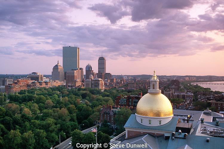 State House dome + Back Bay skyline, Boston, MA looking southwest