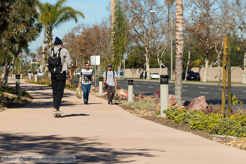Two young men walk towards the camera and a skateboarder rides away from the camera along the Harbor Boulevard Cornerstone Bike Trail in Costa Mesa, California under a clear blue sky.  The two men are both carrying items, and are clearly just casually walking along the relaxing trail.  The skateboarder is also just casually rolling along.  The landscaping of the path, including a diversity of plants and rocks, can be seen beside and behind the people.  The landscape architecture work on the project was done by David Volz Design.