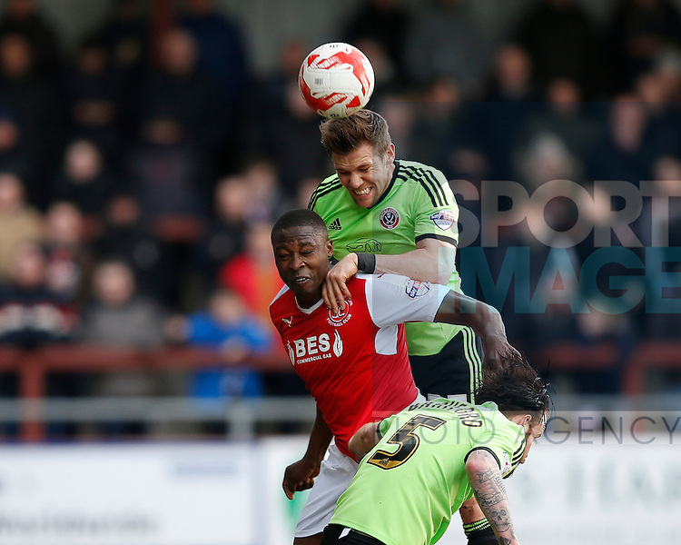 Dean Hammond of Sheffield Utd crowds out Shola Ameobi of Fleetwood Town  - English League One - Fleetwood Town vs Sheffield Utd - Highbury Stadium - Fleetwood - England - 5rd March 2016 - Picture Simon Bellis/Sportimage