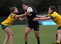 Kristina Sue in action during the 2017 International Women's Rugby Series rugby match between the NZ Black Ferns and Australia Wallaroos at Rugby Park in Christchurch, New Zealand on Tuesday, 13 June 2017. Photo: Dave Lintott / lintottphoto.co.nz