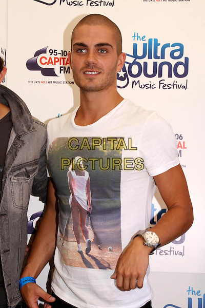 The Wanted - Max George.Ultrasound Music Festival at Tamworth Castle, Staffordshire, Tamworth, Staffs, USA..September 4th 2011.half length white t-shirt print athena tennis girl photograph .CAP/COA/CC.©CC/COA/Capital .