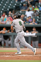 Designated hitter Frankie Tostado (8) of the Augusta GreenJackets bats in a game against the Columbia Fireflies on Thursday, July 11, 2019 at Segra Park in Columbia, South Carolina. Columbia won, 5-2. (Tom Priddy/Four Seam Images)