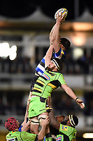 Charlie Ewels of Bath Rugby wins the ball at a lineout. Aviva Premiership match, between Bath Rugby and Northampton Saints on February 9, 2018 at the Recreation Ground in Bath, England. Photo by: Patrick Khachfe / Onside Images