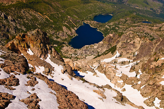 Upper and Lower Sardine Lakes as seen from the Sierra Buttes Fire Lookout, Sierra County, Northern California.