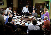 United States President Barack Obama participates in a G8 Summit working session focused on global and economic issues, in the dining room of Laurel Cabin at Camp David, Md., May 19, 2012..Mandatory Credit: Pete Souza - White House via CNP