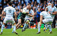Lachlan McCaffrey of Leicester Tigers takes on the Racing 92 defence. European Rugby Champions Cup semi final, between Leicester Tigers and Racing 92 on April 24, 2016 at The City Ground in Nottingham, England. Photo by: Patrick Khachfe / JMP