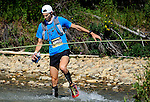 August 20, 2016 - Leadville, Colorado, U.S. -  Boulder, Colorado ultra distance runner, Erich Wegscheider #193, negotiates a river crossing prior to ascending to Hope Pass during the Blueprint for Athletes Leadville Trail 100, Leadville, Colorado.  Considered one of the most challenging endurance races in the world, ultra distance runners will navigate high altitude trails, challenging river crossings, and a variety of changing weather with an elevation gain of more than 18,000 feet ranging from 9200 feet near Twin Lakes to 12,600 feet atop the high point of Hope Pass.