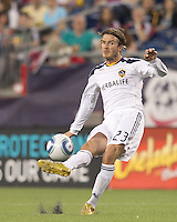 Los Angeles Galaxy midfielder David Beckham (23) takes a free kick. In a Major League Soccer (MLS) match, the Los Angeles Galaxy defeated the New England Revolution, 1-0, at Gillette Stadium on May 28, 2011.