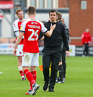 Fleetwood Town manager Joey Barton encourages James Husband after the final whistle <br /> <br /> Photographer Alex Dodd/CameraSport<br /> <br /> The EFL Sky Bet League One - Fleetwood Town v Accrington Stanley - Saturday 15th September 2018  - Highbury Stadium - Fleetwood<br /> <br /> World Copyright &copy; 2018 CameraSport. All rights reserved. 43 Linden Ave. Countesthorpe. Leicester. England. LE8 5PG - Tel: +44 (0) 116 277 4147 - admin@camerasport.com - www.camerasport.com