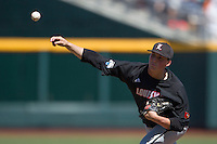 Louisville pitcher Kyle Funkhouser (16) delivers a pitch to the plate against the Oregon State Beavers during Game 5 of the 2013 Men's College World Series on June 17, 2013 at TD Ameritrade Park in Omaha, Nebraska. The Beavers defeated Cardinals 11-4, eliminating Louisville from the tournament. (Andrew Woolley/Four Seam Images)