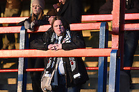 A Grimsby Town fan looks on prior to the Vanarama National League match between Aldershot Town and Grimsby Town at the EBB Stadium, Aldershot, England on 5 April 2016. Photo by Paul Paxford / PRiME Media Images.
