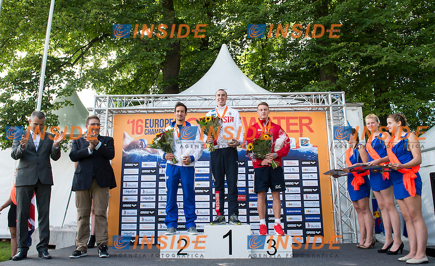 Podium - ABROSIMOV Kirill RUS gold medal, VANELLI Federico ITA silver medal, HUGHES Caleb GBR bronze medal<br /> Hoorn, Netherlands <br /> LEN 2016 European Open Water Swimming Championships <br /> Open Water Swimming<br /> Men's 5km<br /> Day 02 12-07-2016<br /> Photo Giorgio Perottino/Deepbluemedia/Insidefoto