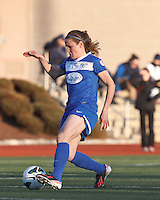 Boston Breakers midfielder Heather O'Reilly (9) controls the ball. In a National Women's Soccer League Elite (NWSL) match, the Boston Breakers (blue) tied the Washington Spirit (white), 1-1, at Dilboy Stadium on April 14, 2012.
