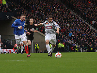 David Anderson gets away from Kyle Hutton in the Queen's Park v Rangers Irn-Bru Scottish League Division Three match played at Hampden Park, Glasgow on 29.12.12. .