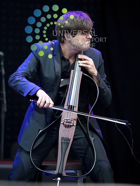 2 Cellos Luka Suli? & Stjepan Hauser support Elton John..Sir Elton John performs his first ever date in Falkirk on 10th June 2012. Undoubtedly one of the biggest artists in the world, Elton John and his band will bring their unforgettable live show to The Falkirk Stadium for one special night...Picture: Alan Rennie/Universal News and Sport (Scotland).