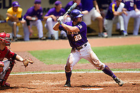 LSU Tigers designated hitter Jordy Snikeris #20 at bat during the NCAA Super Regional baseball game against Stony Brook on June 9, 2012 at Alex Box Stadium in Baton Rouge, Louisiana. Stony Brook defeated LSU 3-1. (Andrew Woolley/Four Seam Images)