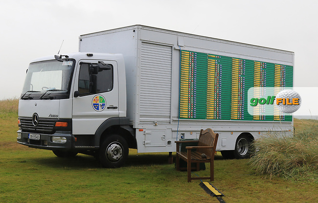 The mobile office at the end of play after Round 2 of the North of Ireland Amateur Open Championship 2019 at Portstewart Golf Club, Portstewart, Co. Antrim on Wednesday 10th July 2019.<br /> Picture:  Thos Caffrey / Golffile<br /> <br /> All photos usage must carry mandatory copyright credit (© Golffile | Thos Caffrey)