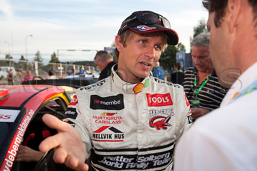 JYVASKYLA, FINLAND - JULY 30: Petter Solberg of Norway pictured on the service area in the WRC Rally Finland on July 30, 2010 in Jyvaskyla, Finland.