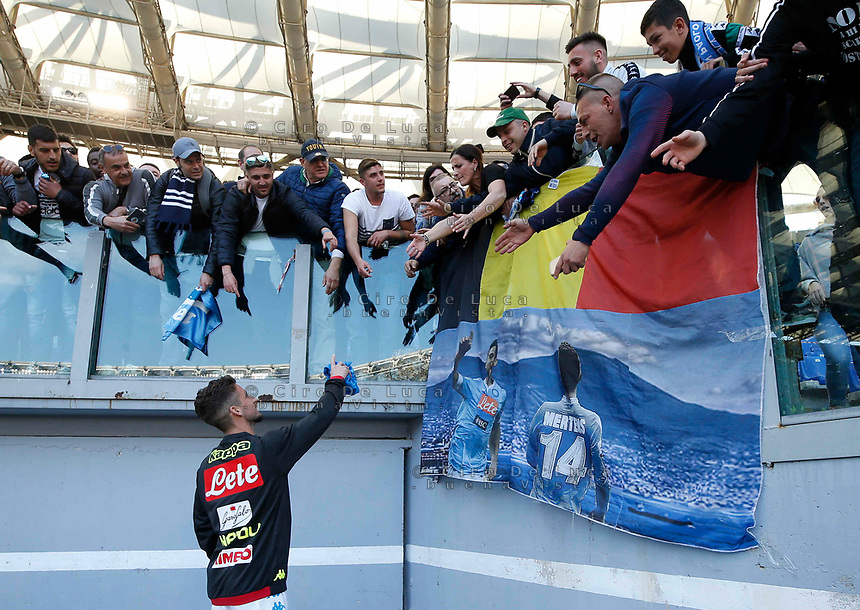 Dries Mertens of Napoli at the end  the  italian serie a soccer match, AS Roma -  SSC Napoli       at  the Stadio Olimpico in Rome  Italy , March 31, 2019