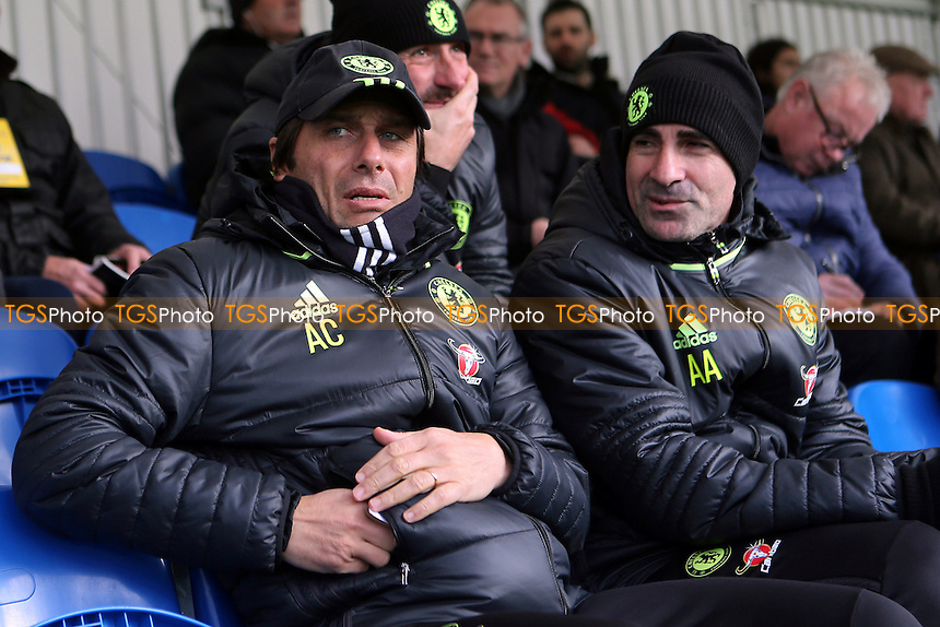 Chelsea Manager, Antonio Conte, watches from the stand  during Chelsea Under-23 vs Southampton Under-23, Premier League 2 Football at the Cobham Training Ground on 21st November 2016