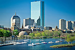 Sailboats rest in the Storrow Lagoon of the Charles River, under the Back Bay skyline, Back Bay, Boston, Greater Boston, MA