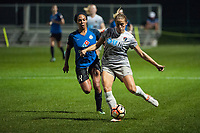 Kansas City, MO - Thursday August 10, 2017: Sydney Leroux, Abby Dahlkemper during a regular season National Women's Soccer League (NWSL) match between FC Kansas City and the North Carolina Courage at Children's Mercy Victory Field.