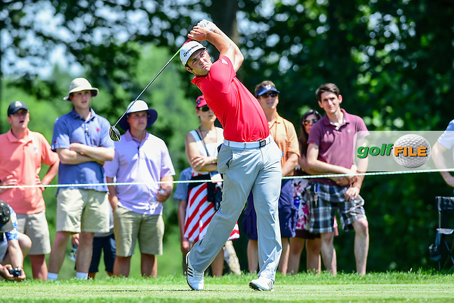 Jon Rahm (ESP) watches his tee shot on 4 during round 4 of the 2016 Quicken Loans National, Congressional Country Club, Bethesda, Maryland, USA. 6/26/2016.<br /> Picture: Golffile | Ken Murray<br /> <br /> <br /> All photo usage must carry mandatory copyright credit (&copy; Golffile | Ken Murray)