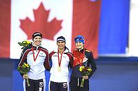 SPEEDSKATING: CALGARY: 15-11-2015, Olympic Oval, ISU World Cup, Podium 1500m Ladies, Heather Richardson (USA), winner Brittany Bowe (USA), Martina Sábliková (CZE), ©foto Martin de Jong