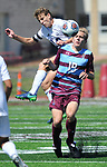 Francis Howell Central's Sam Newton (left) and DeSmet's Andrew Morrissey collide as they both went for the ball. DeSmet defeated Francis Howell Central 2-1 on Saturday September 14, 2019.<br /> Tim Vizer/Special to STLhighschoolsports.com