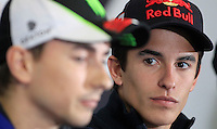 Honda MotoGP rider Marc Marquez (right) of Spain listens to Yamaha MotoGP rider Jorge Lorenzo of Spain during the official press conference ahead of the Australian Grand Prix in Phillip Island near Melbourne October 17, 2013. IMAGE RESTRICTED TO EDITORIAL USE ONLY- STRICTLY NO COMMERCIAL USE. Photo by Daniel Munoz/VIEWpress