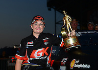Jul. 1, 2012; Joliet, IL, USA: NHRA  pro stock driver Erica Enders celebrates after winning the Route 66 Nationals at Route 66 Raceway. Mandatory Credit: Mark J. Rebilas-