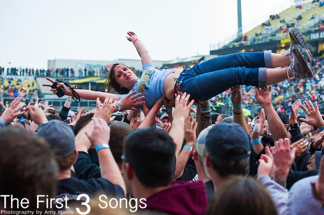 Staind performs during the 2014 Rock On The Range festival at Columbus Crew Stadium in Columbus, Ohio.
