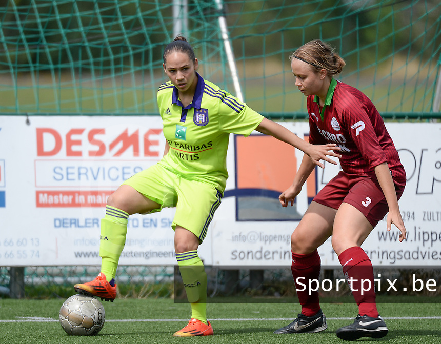 20150808 - ZULTE , BELGIUM : Anderlecht's Lola Wajnblum pictured with Zulte's Eva Van Daele  during a friendly soccer match between the women teams of Zulte-Waregem and RSC Anderlecht  , during the preparations for the 2015-2016 SUPERLEAGUE season, Saturday 8 August 2015 . PHOTO DAVID CATRY