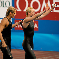 Roma 2nd August 2009 - 13th Fina World Championships .From 17th to 2nd August 2009.Women's 50 Breastroke.Britta STEFFEN (GER) Gold Medal (R), Dara TORRES (USA) (L).Roma2009.com/InsideFoto/SeaSee.com . .Foto Andrea Staccioli Insidefoto