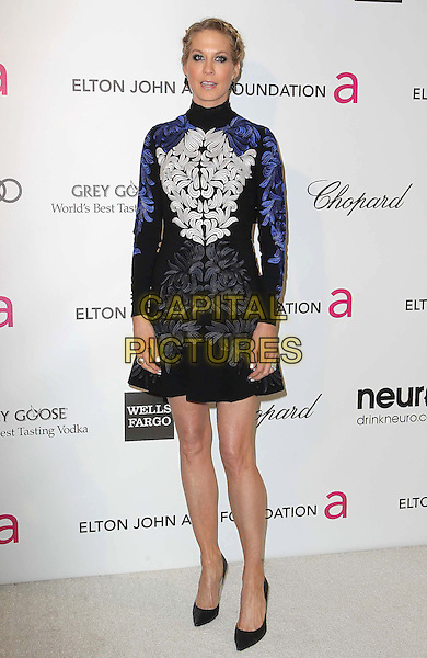 Jenna Elfman.21st Annual Elton John Academy Awards Viewing Party held at West Hollywood Park, West Hollywood, California, USA..February 24th, 2013.oscars full length dress long sleeves blue black white embroidered high collar .CAP/ADM/KB.©Kevan Brooks/AdMedia/Capital Pictures.