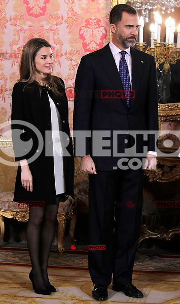 Spain's Princess Letizia and crown Prince Felipe during audiences. February 13, 2013. (ALTERPHOTOS/Alvaro Hernandez) /NortePhoto