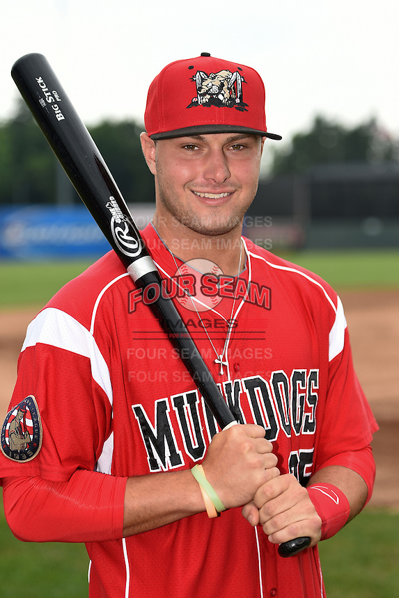 Batavia Muckdogs third baseman Ryan Cranmer (25) poses for a photo before a game against the Jamestown Jammers on July 7, 2014 at Dwyer Stadium in Batavia, New York.  Batavia defeated Jamestown 9-2.  (Mike Janes/Four Seam Images)