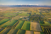 Aerial of the agricultural fields in Delta Junction, Interior, Alaska.
