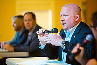 NWA Democrat-Gazette/JASON IVESTER<br /> Rogers Police Chief Hayes Minor speaks Thursday, April 20, 2017, during a minority community meeting at Centro Cristiano Assemblies of God in Rogers.