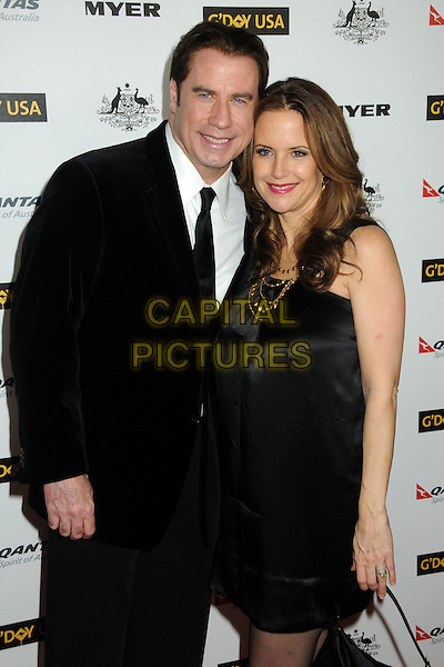 JOHN TRAVOLTA & KELLY PRESTON.2011 G'Day USA Los Angeles Black Tie Gala held at the Hollywood Palladium, Hollywood, California, USA, .22nd January 2011..half length black velvet suit tie jacket silk satin dress gold necklace married couple husband wife .CAP/ADM/BP.©Byron Purvis/AdMedia/Capital Pictures.