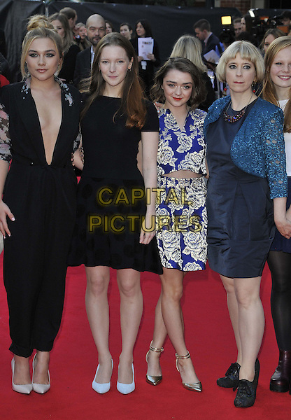 LONDON, ENGLAND - OCTOBER 11: Maisie Williams ( 3rd fr lleft ) &amp; Carol Morley ( far right ) attend the &quot;The Falling&quot; Official Competition screening, 58th BFI LFF Day 4, Odeon West End cinema, Leicester Square, on Saturday October 11, 2014 in London, England, UK. <br /> CAP/CAN<br /> &copy;Can Nguyen/Capital Pictures