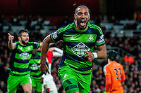Ashley Williams of Swansea City  Celebrates his goalduring the Barclays Premier League match between Arsenal and Swansea City at the Emirates Stadium, London, UK, Wednesday 02 March 2016