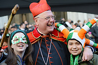 www.acepixs.com<br /> March 17, 2017  New York City<br /> <br /> Cardinal Archbishop Timothy Dolan with children at the St Patrick's Day Parade on March 17, 2017 in New York City.<br /> <br /> Credit: Kristin Callahan/ACE Pictures<br /> <br /> <br /> Tel: 646 769 0430<br /> Email: info@acepixs.com